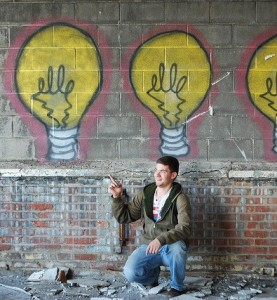 Man with Bright Idea